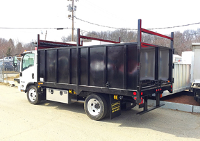 14' long solid sided dump body with ladder racks